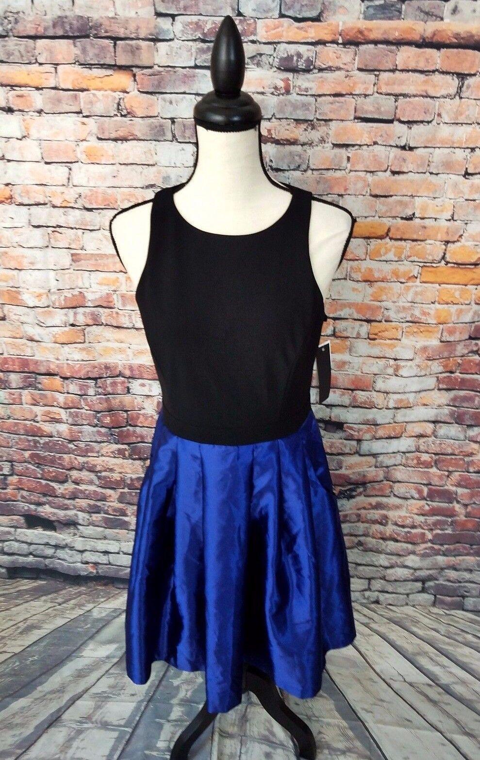 NWT  Aqua Sleeveless schwarz Navy Blau Poly Blend A-Line Halter Dress Sz 8 NEW