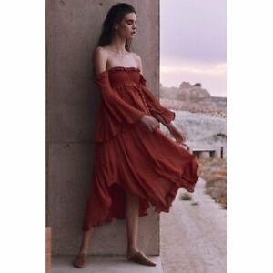 0150e786fa3e Spell and The Gypsy Collective Florence Midi Dress in Burnt Red   eBay