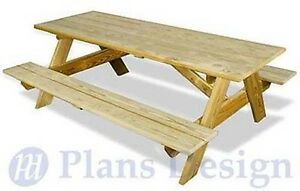 Picnic Table Traditional Rectangle Garden Style, Woodworking Plans #ODF01