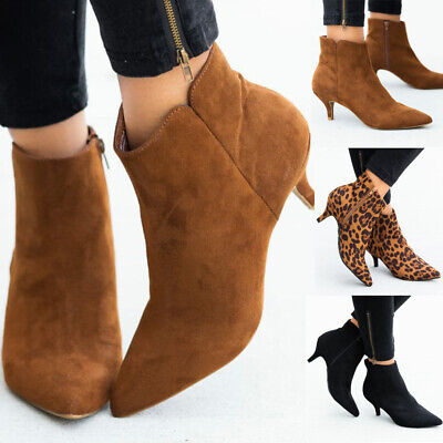 Women Ladies Ankle Boots Ladies Low Mid Kitten Heels Shoes Zip Pointy Boots Size