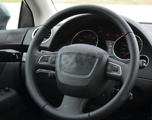 perforado Funda de volante a medida para Seat Exeo realizada en cuero liso