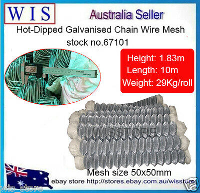 """Hot Dip Galvanized Chain Wire Fencing,Chain Link Fence,1.83m x 10m,2"""" Mesh-67101"""