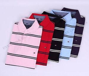 Tommy-Hilfiger-Men-Stripe-Pique-Mesh-Polo-Shirt-Short-Sleeve-Free-0-Shipping
