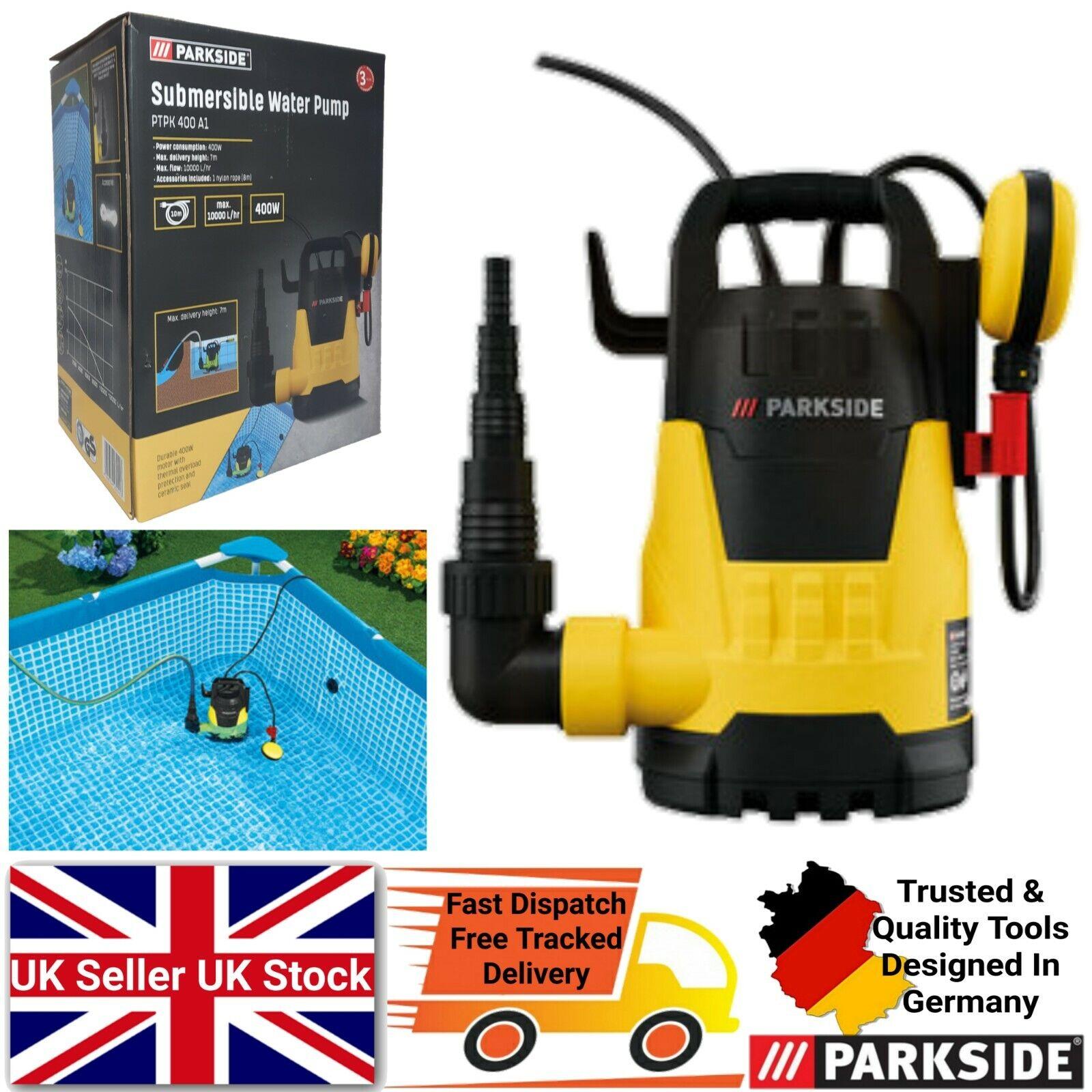Parkside Submersible Water Pump Durable 400W Motor Draining Transferring Water