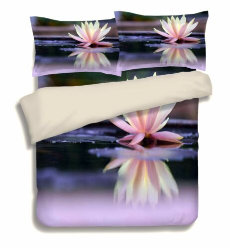 3D Water Lily 6 Bed Pillowcases Quilt Duvet Cover Set Single Queen King AU Lemon