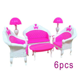 Enjoyable Details About 6Pcs Pink Barbie Doll House Furniture Living Room Sofa Couch Chair Armchair Short Links Chair Design For Home Short Linksinfo