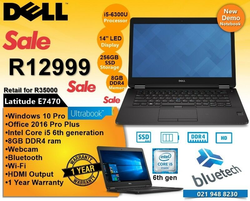 Dell latitude E7470 | 256 SSD | 8GB DDR4 | Core i5 6th gen | Ultrabook 14''.