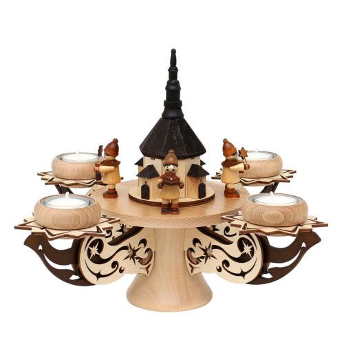 hochwertiger Adventsleuchter mit Teller für 4 Teelichte Holz 72 0221