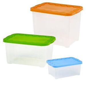 set 2 plastik lager boxen stapelbar mit deckel beh lter wanne heimb ro ebay. Black Bedroom Furniture Sets. Home Design Ideas