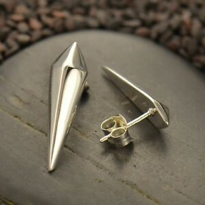 Sterling-Silver-925-Edgy-Pyramid-Spike-Stud-Studs-Post-Earrings-Gift-Woman