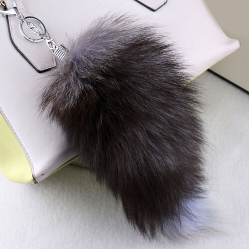 New 1PC Fox Tail Fur Tassel Keychain Bag Phone Car Key Pendant Keyring Gift