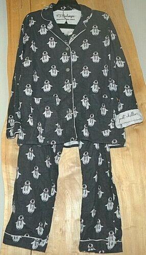 Women/'s PJ SALVAGE Pajama Set Penguins JUST CHILLIN On Gray Flannel SZ Large