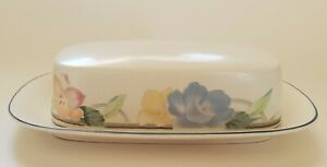 Mikasa Intaglio Garden Poetry Butter Dish Multicolor 1980s Tableware Dinnerware