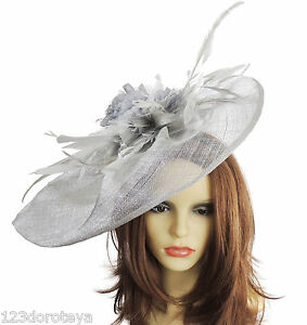 Image is loading SIlver-Grey-Fascinator-Hat-for-weddings-ascot-proms- 55d614d04fb