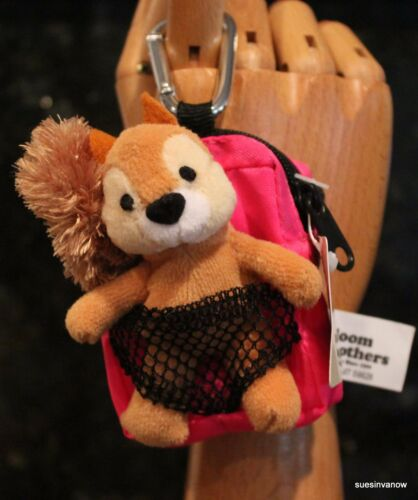 Squirrel w//Backpack Kampin Kritter Coin Purse Bag W//Carabineer Cute Fun Playful