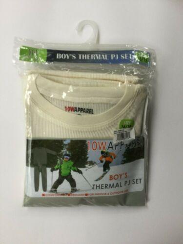 10W Apparel Boys Thermal Pajama Set PJs White Size 16//18 100/% Cotton Winter