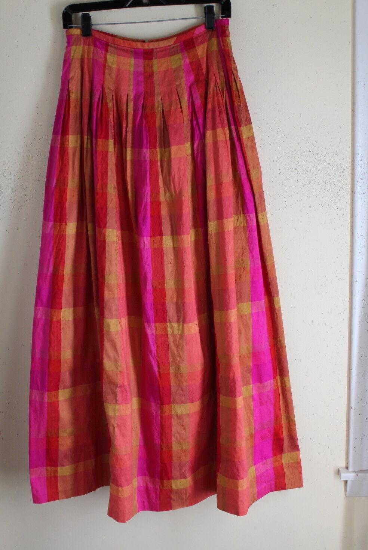 Maggy London Sz 10 Plaid Boho Romantic Pleated Funky 42  Long Silk Taffeta Skirt