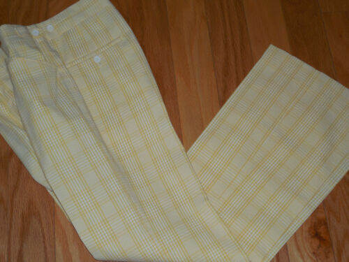 Vtg 60s 70s JANTZEN Mod SEERSUCKER Golf Pants Yell