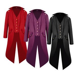Men-039-s-Gothic-Medieval-Tailcoat-Jacket-Steampunk-Victorian-High-Collar-Coat