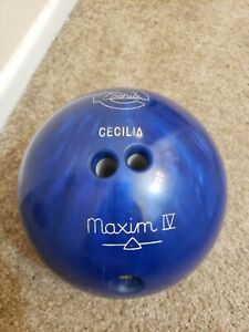 Vintage-Ebonite-Maxim-IV-Bowling-Ball-Green-Blue-Swirl-12-lbs-B007