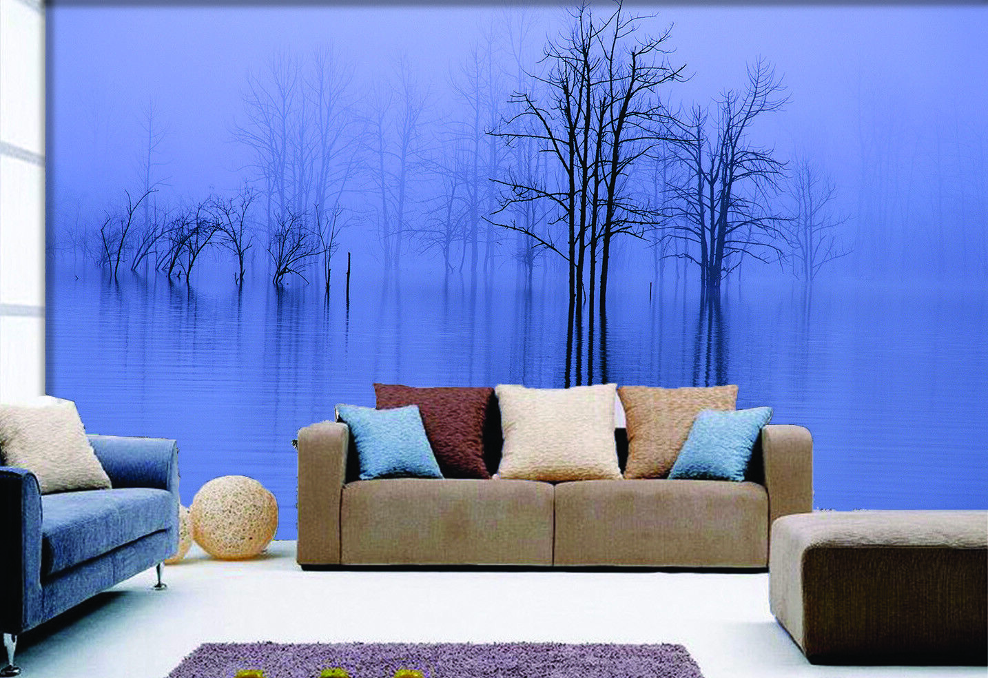 3D Misty Lake Tree 455 Wall Paper Wall Print Print Print Decal Wall Deco Indoor Mural Summer 417e2a