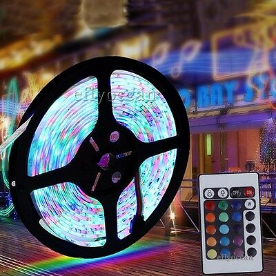 5M 3528 SMD RGB Flexible LED Strip light 300 leds + 24 Key IR Remote Controller