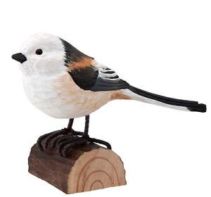 Vogel Holz schwanzmeise handgeschnitzter vogel holz wildlife garden ebay