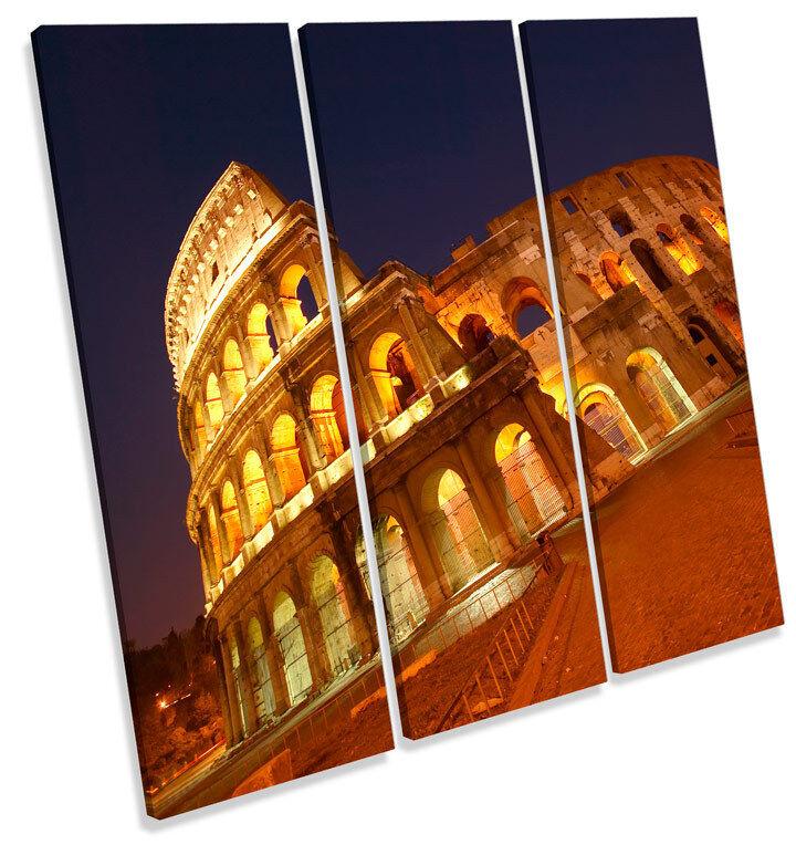 Rome Coliseum  TREBLE CANVAS WALL ART Square Print Picture