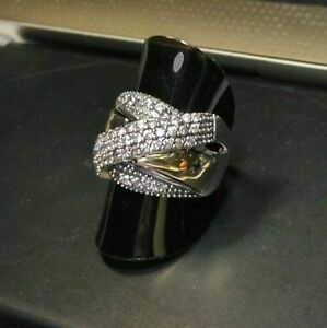 Two-Tone-Sterling-Silver-amp-9k-Gold-Ring-size-M1-2-hallmarked-SAME-DAY-SHIPPING