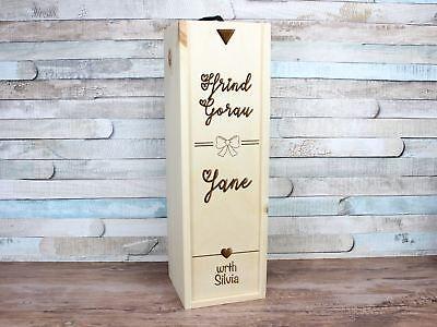 Personalised Engraved Welsh Ffrind Gorau Best Friend Wine Gift Box Quarter Mini