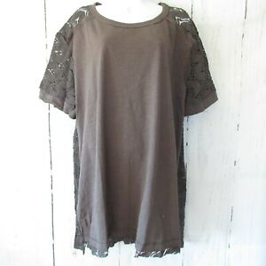 New-Umgee-Tunic-Top-M-Medium-Charcoal-Gray-Crochet-Lace-Short-Sleeve-Oversized