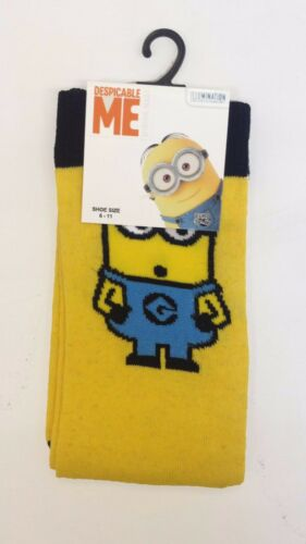 Mens Cotton Novelty Design Minions Bad Boys Street Socks Black Yellow Size 6-11