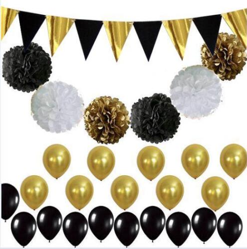 Black Gold White Party Decorations Tissue Paper Pom Pom Honeycomb Ball and Paper