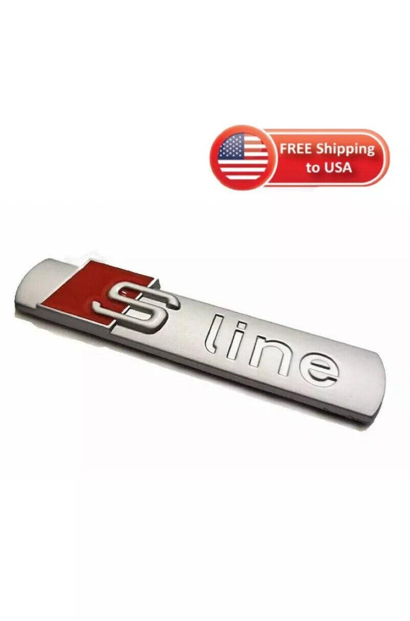 2x S-LINE Sline S line Side Fender Door Logo Emblem Decal Badge Nameplate Silver Red