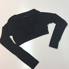 Extyn Italian Brand Black Rayon Women Short Sweater Cardigan Size S Long Sleeves