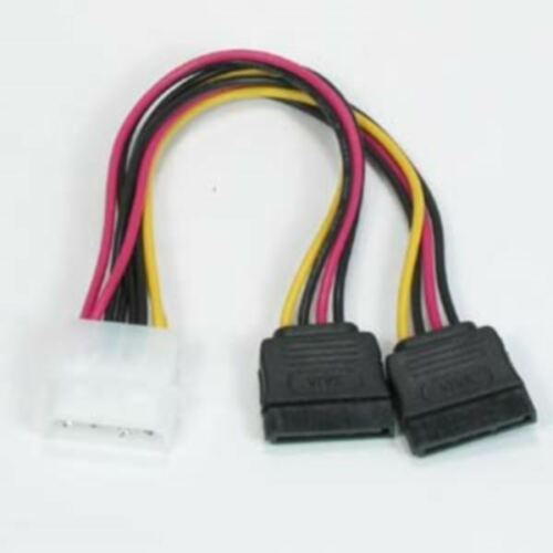 4 Pin Male To 2 SATA 15 Pin Serial ATA Female HDD Y Adapter Power Cable