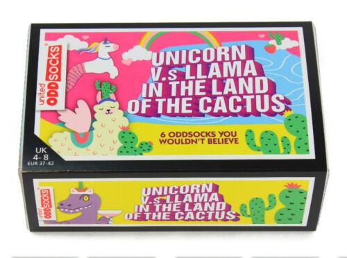 UNITED ODDSOCKS UNICORN LLAMA THE LAND OF THE CACTUS ODD SOCKS LADIES UK 4-8