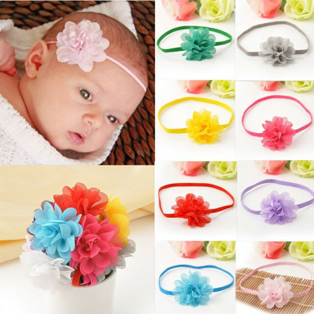 10Pcs Chiffon Flower Hair Band Headband Elastic for Baby Girl Infant Toddler Set