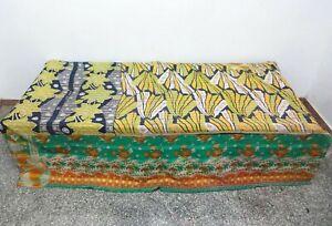 Vintage-Kantha-Quilt-Decorative-Cotton-Bedspread-Blanket-Bedding-Throw-GG10