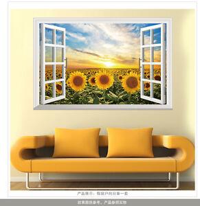 Flower sunflower diy wall decal decor room sticker for Sunflower bedroom decor