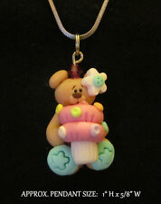 Teddy Bear Cupcake Necklace Kawaii Polymer Clay