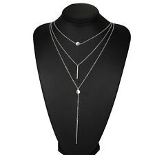 Fashion Women's 3 Multi layer Necklace Tassel Charm Bar Statement Bid Necklace