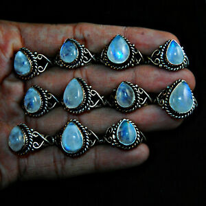 Flashy Pear Lot Pcs Natural Moonstone Gemstone 925 Sterling Solid Silver Rings