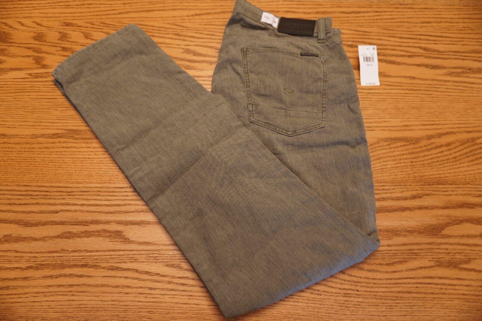 NWT MEN'S HUDSON JEANS PANTS Size 36 x 33 Blake Slim Straight Linen Hunter