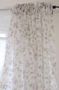 vorhang gardine rosen 2 x 135x240 cm set schal shabby chic vintage landhaus neu ebay. Black Bedroom Furniture Sets. Home Design Ideas