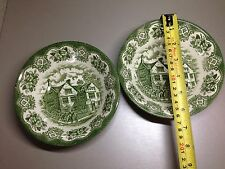 2 x English Ironstone Tableware OLD INNS Bowl GREEN WHITE 6½""