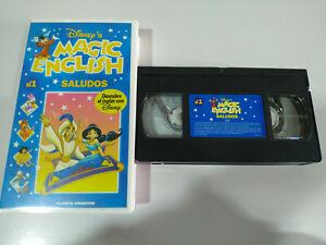 SALUDOS-MAGIC-ENGLISH-DESCUBRE-EL-INGLES-CON-WALT-DISNEY-VHS-CINTA-TAPE