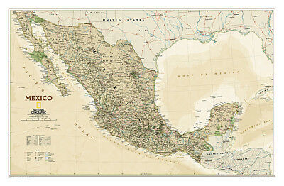 Wall Map of MEXICO Rolled Non-Folded Executive-Style NATIONAL GEOGRAPHIC POSTER