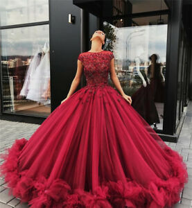 Red Quinceanera Dresses Tulle Appliques Ball Gown Prom Dress Sweet 16 Dresses