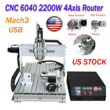 22kw 4axis Cnc 6040 Router Mach3 Usb Engraving Wood Cutting Drilling Machine Us